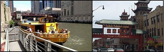 water taxi and Chinatown Chicago
